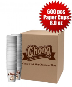 1 Box of 600 Chong Paper Cups (8.0oz)