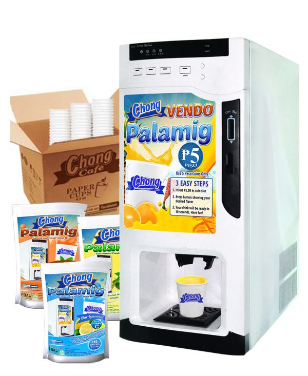Chong Cafe Cold Vending Machine Combo Package With Cups